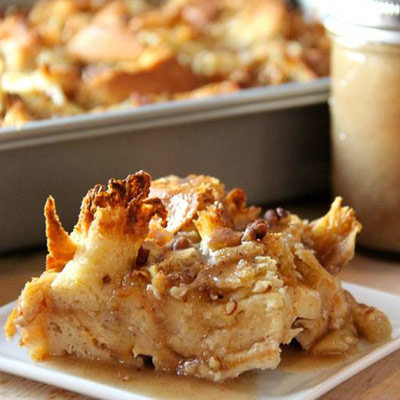 Caramel Apple Bread Pudding with Caramel Sauce