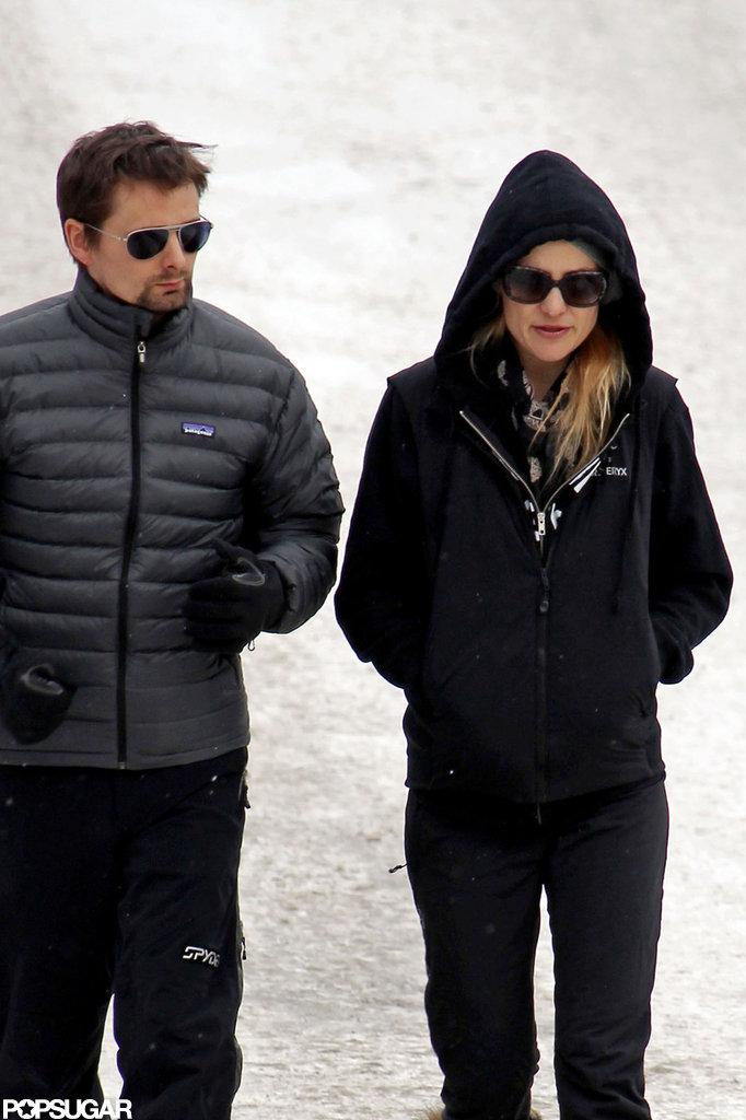 Kate Hudson and Matthew Bellamy walked snowy Aspen.