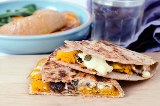 Brie and Butternut Quesadillas with Sage and Shiitakes