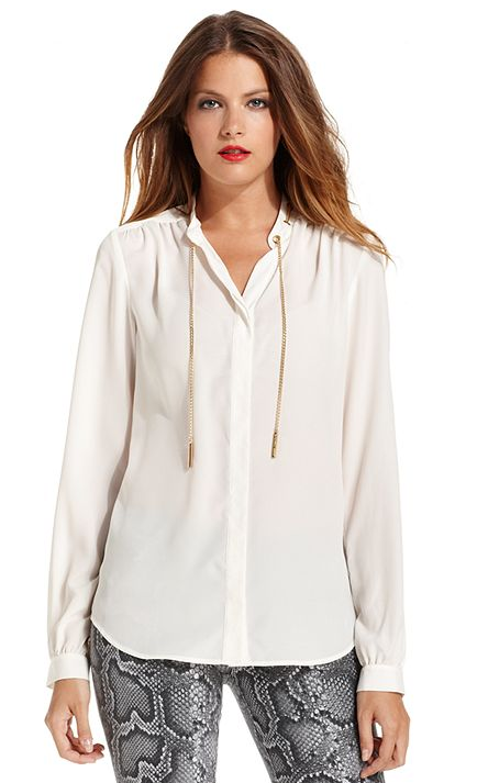 What makes this Michael Michael Kors button-front blouse ($60, originally $100) such a standout? It's the awesome chain detail on the collar. The blouse also comes in black.