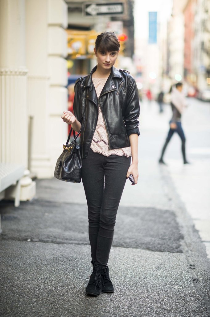 Contrast your frills with a little leather. Source: Adam Katz Sinding