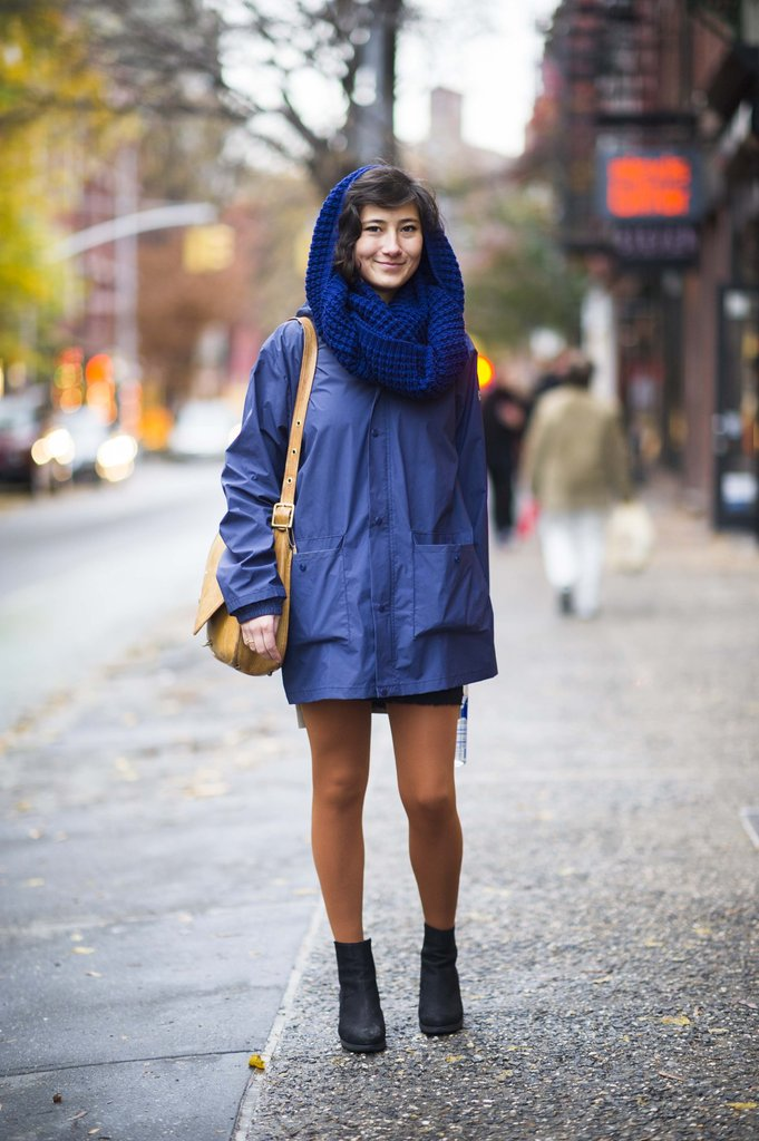 Blue makes an appealing alternative to all-black, as this street styler proved. Source: Adam Katz Sinding