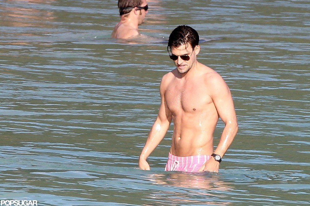 Olivia Palermo's boyfriend, Johannes Huebl, went into the ocean for a dip.