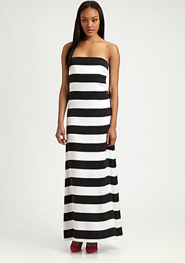 Add warm layers like a scarf and jacket to this Alice + Olivia's Chandra strapless striped maxi dress ($396) now, and then come Summer, shed the layers to reveal your shoulders.