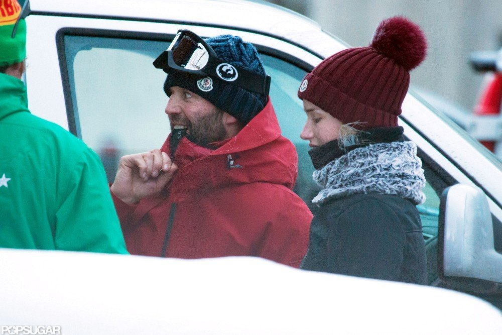 Jason Statham and Rosie Huntington-Whiteley stayed close in the  French Alps.
