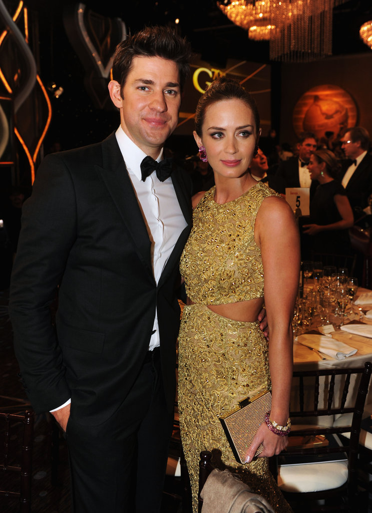 Emily Blunt and John Krasinski coupled up during a break from the show.