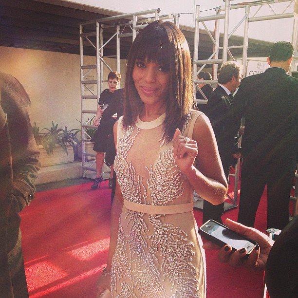 Kerry Washington glittered on the Golden Globes red carpet in a sleek Miu Miu dress. Source: Instagram user goldenglobes