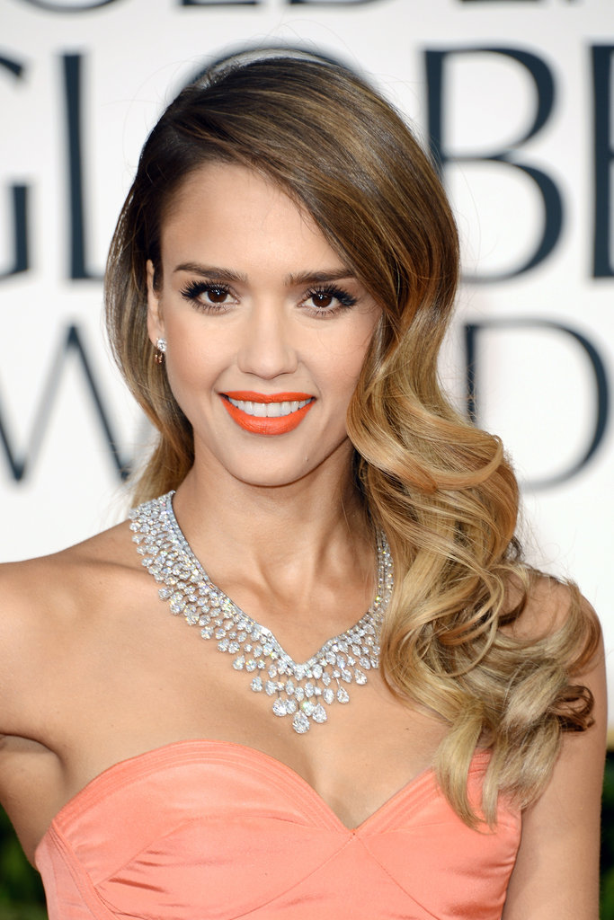 Jessica Alba Goes For Orange at the 2013