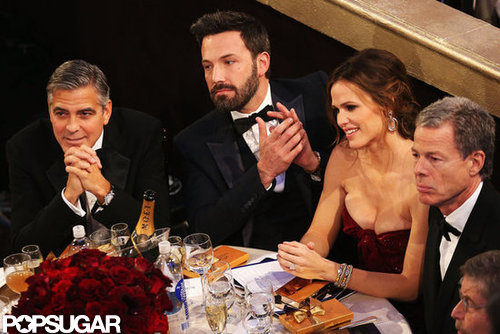 George Clooney, Ben Affleck, and Jennifer Garner sat together at the Golden Globes.