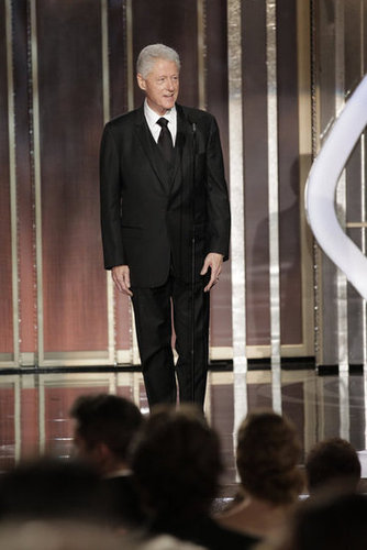 Bill Clinton made a surprise appearance at the Globes to present Lincoln.