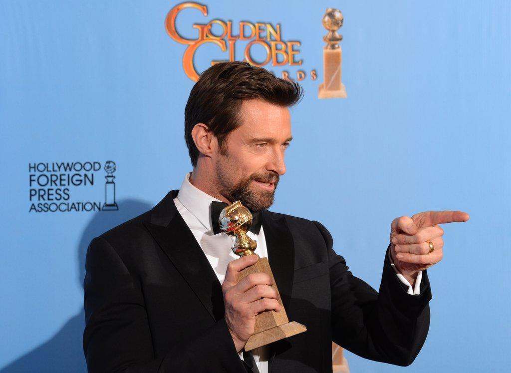 Hugh Jackman hammed it up in the Golden Globes press room.