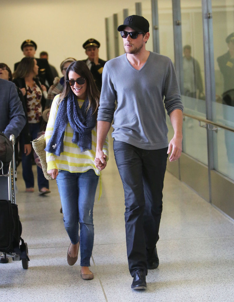 Cory Monteith led the way for Lea Michele at LAX.