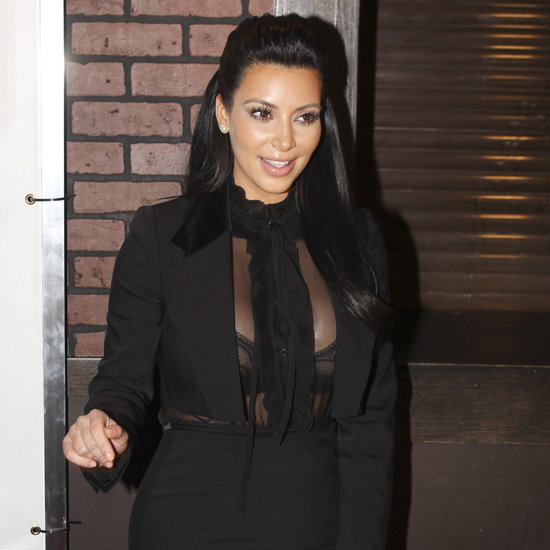 Pregnant Kim Kardashian Pictures in Sheer Black Top and Bra