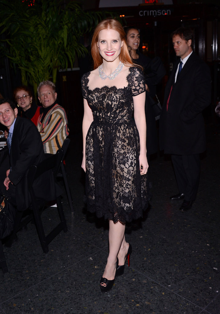 Jessica Chastain attended the New York Film Critics Circle Awards.