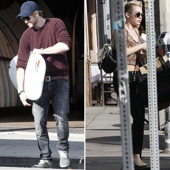 Miley Cyrus Goes Along With Liam Hemsworth to Shop For Surfboards