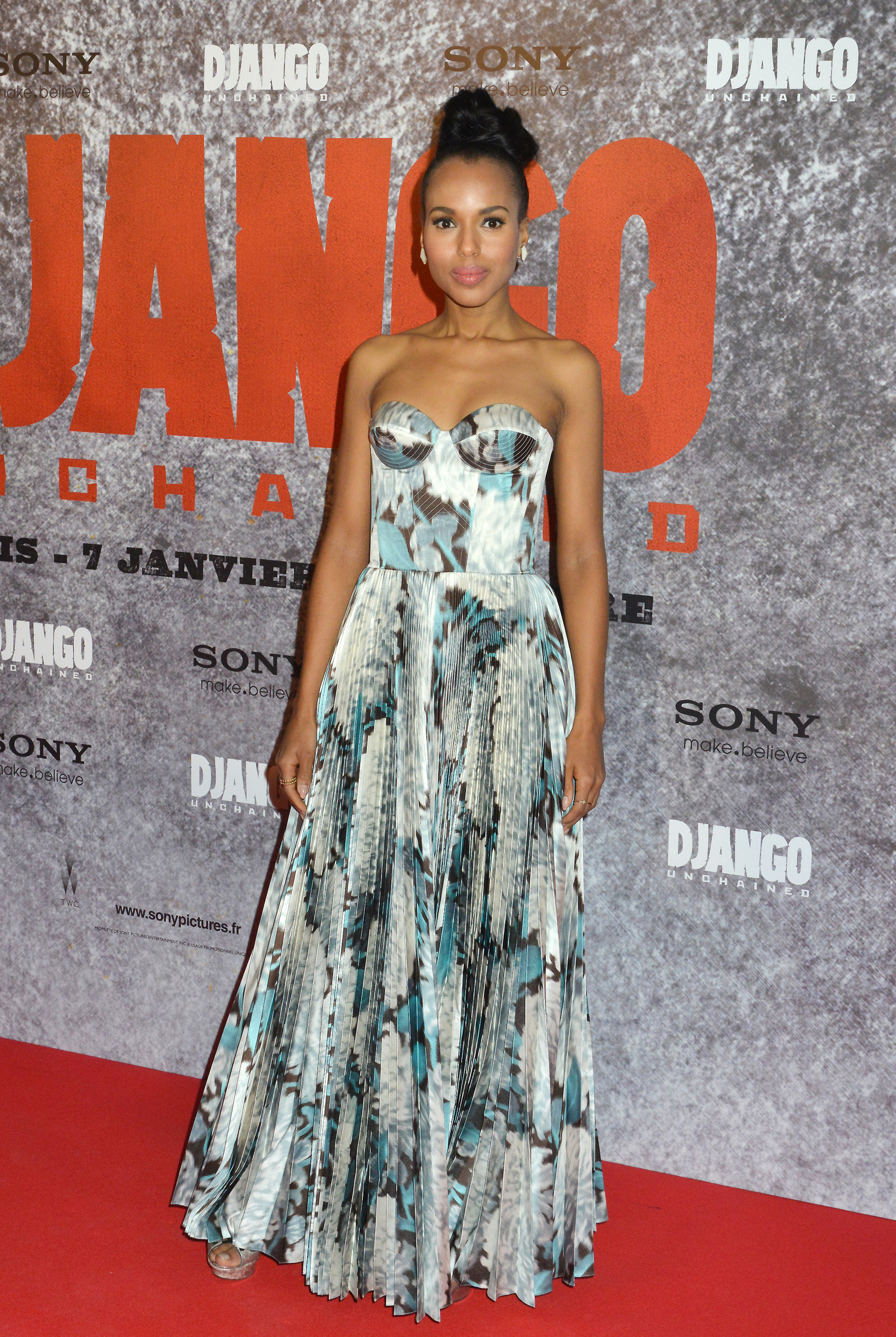 Kerry brought serious glamour to the red carpet for Django Unchained's Paris premiere — she wore a stunning, watercolor-print bustier dress from Rochas's Spring '13 collection, proving once again that sometimes, all it takes is one great gown to make a statement.