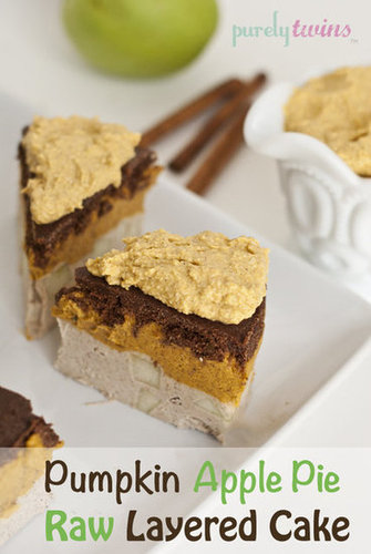 raw vegan pumpkin apple pie layered cake with pumpkin whipped cream