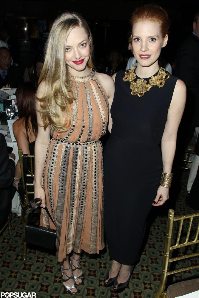 Amanda Seyfried and Jessica Chastain linked up inside the National Board of Review Gala in NYC.