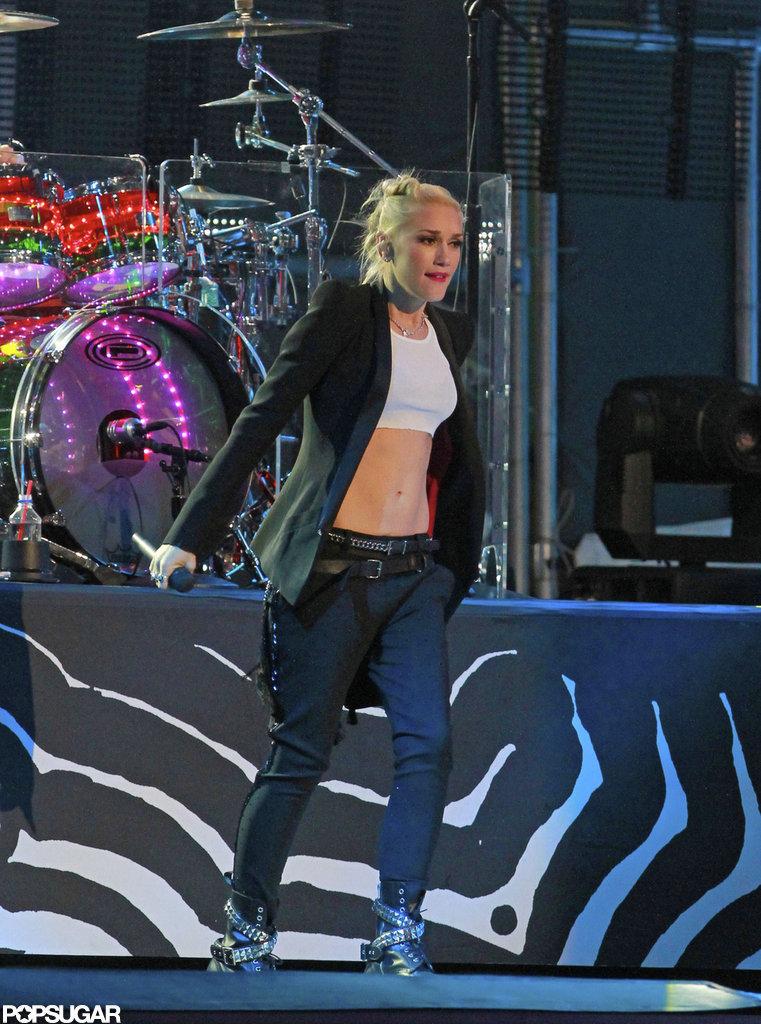 Gwen Stefani showed skin while performing on Jimmy Kimmel Live!