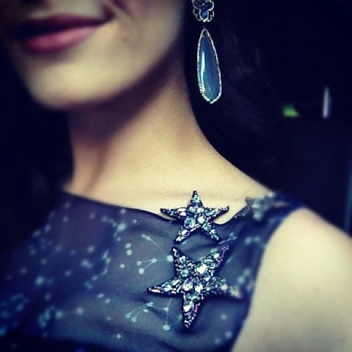 Emmy Rossum shared an up-close photo of her accessories at the Critics' Choice Awards. Source: Instagram user emmyrossum