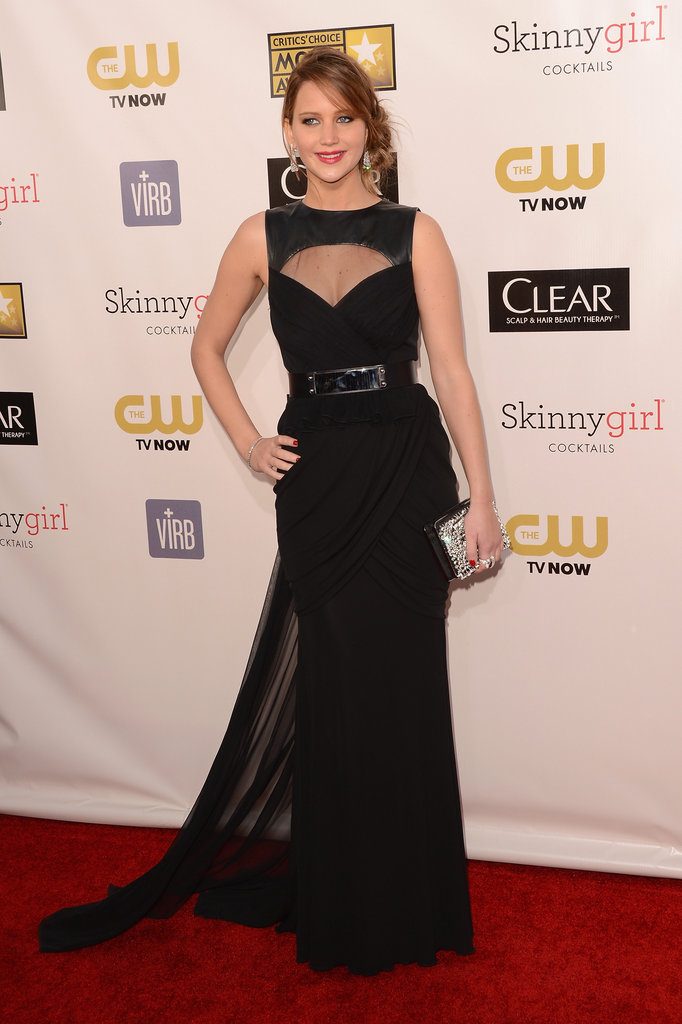 Jennifer Lawrence hit the red carpet in a black Prabal Gurung gown with cutouts.