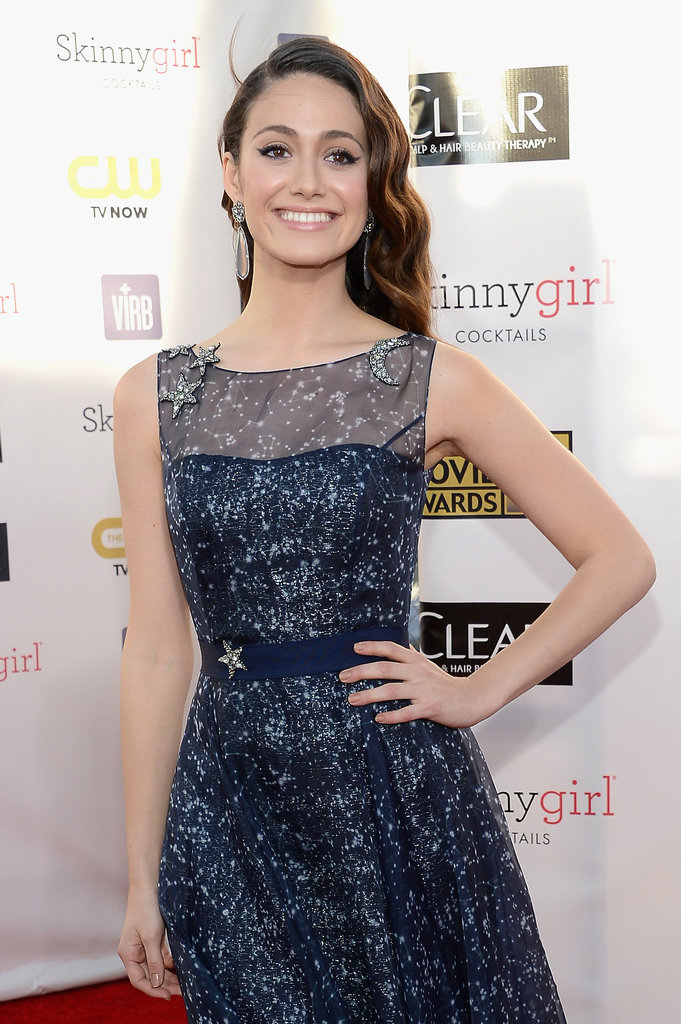 Emmy Rossum wore a sparkling gown to the Critics' Choice Awards.