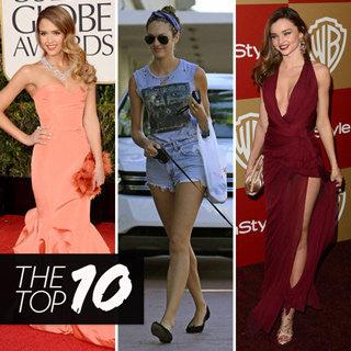Best Dressed Celebs: Miranda Kerr Berry, Jessica Alba Peach