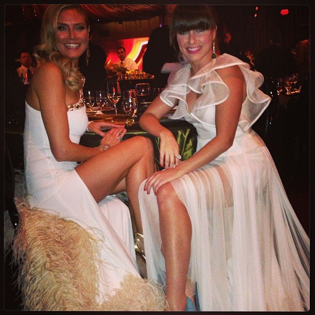 Heidi Klum and Sophia Bush celebrated in their white gowns. Source: Twitter user SophiaBush