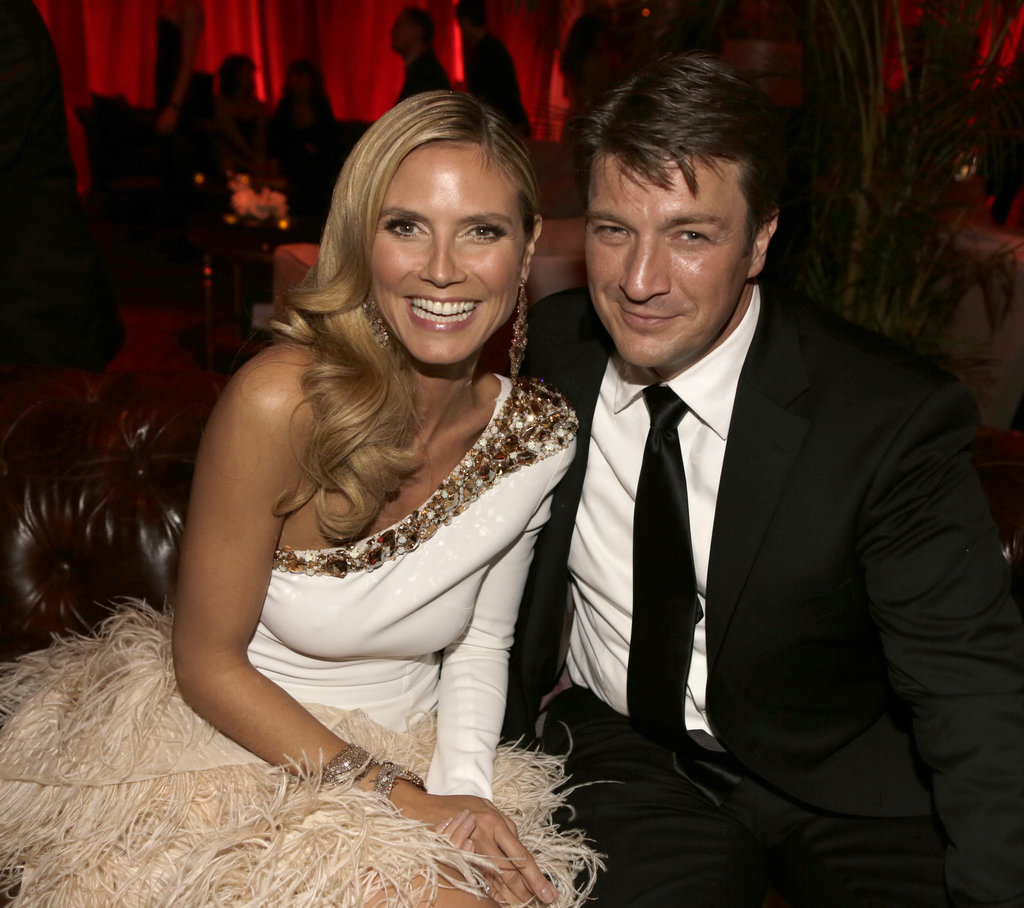 Heidi Klum hammed it up with Nathan Fillion post award show.