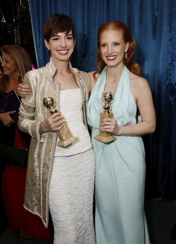 Anne Hathaway and Jessica Chastain showed off their statues at NBC's post-Globes bash.