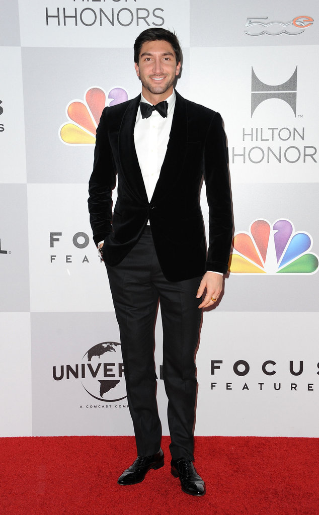 Evan Lysacek posed on the red carpet.