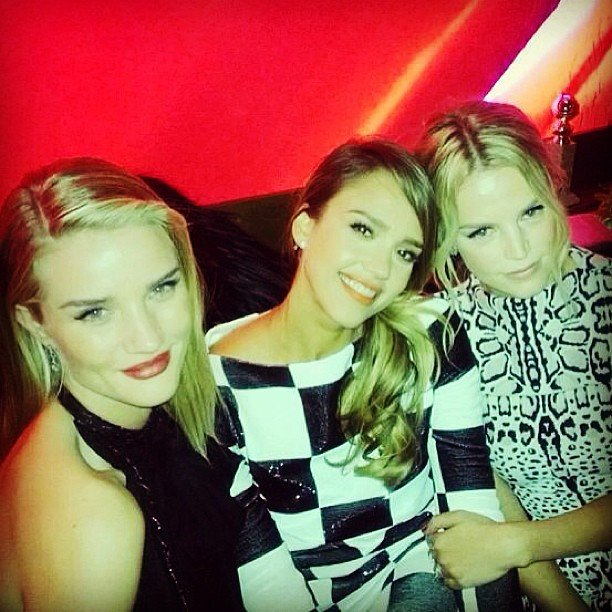 Rosie Huntington-Whiteley, Jessica Alba and Kelly Sawyer partied together at a Golden Globes afterparty. Source: Instagram user rosiehw