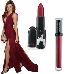 Miranda Kerr's Dark Vampy Red Lipstick at the Golden Globes
