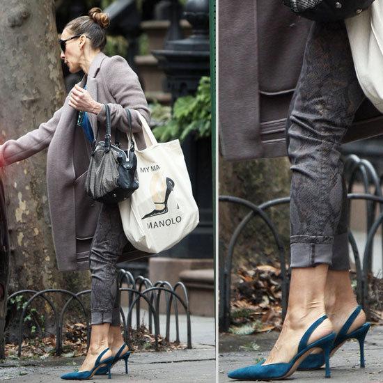 Sarah Jessica Parker's Blue Slingback Heels 2013