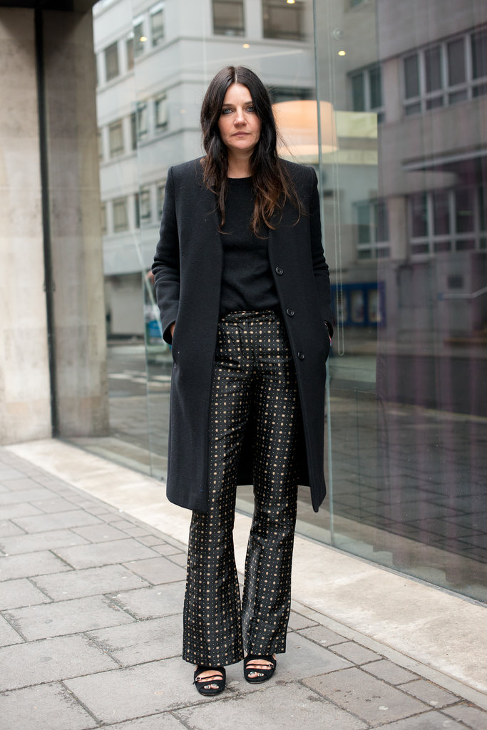A totally elegant bit of daywear, thanks to a sharp coat and sleek trousers.
