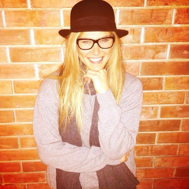 Bar Refaeli shared a cute snap while wearing a bowler hat and glasses. Source: Instagram user barrefaeli