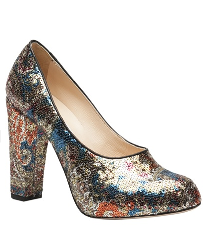 We love the idea of tempering these Carven sequin pumps ($316, originally $790) with boyfriend jeans.