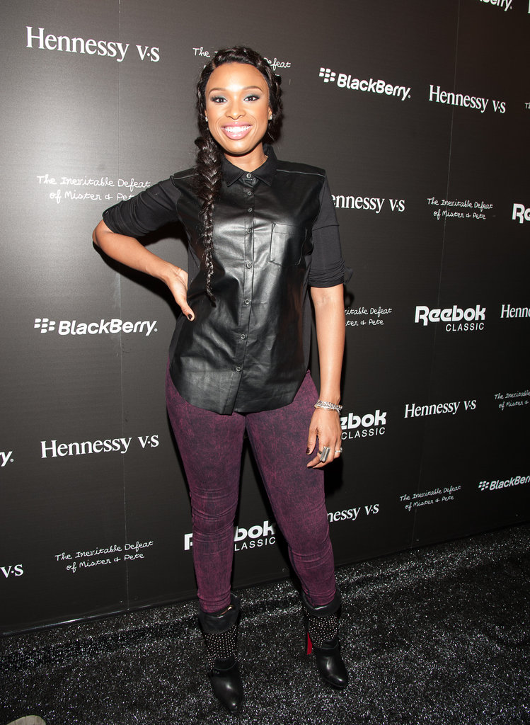 Jennifer Hudson's leather top and plum jeans punched up the cool factor on her Winter dressing MO.