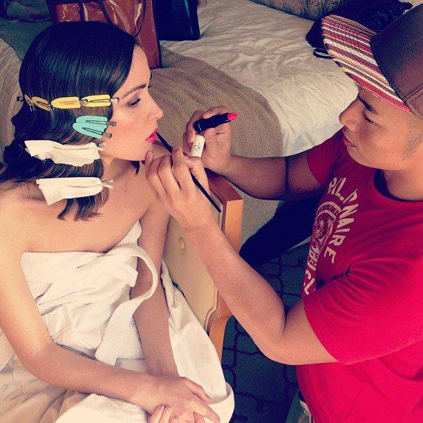 Rose Byrne's finger waves set while she gets her hot pink lipstick applied before the SAG Awards. Source: Instagram user hungvanngo