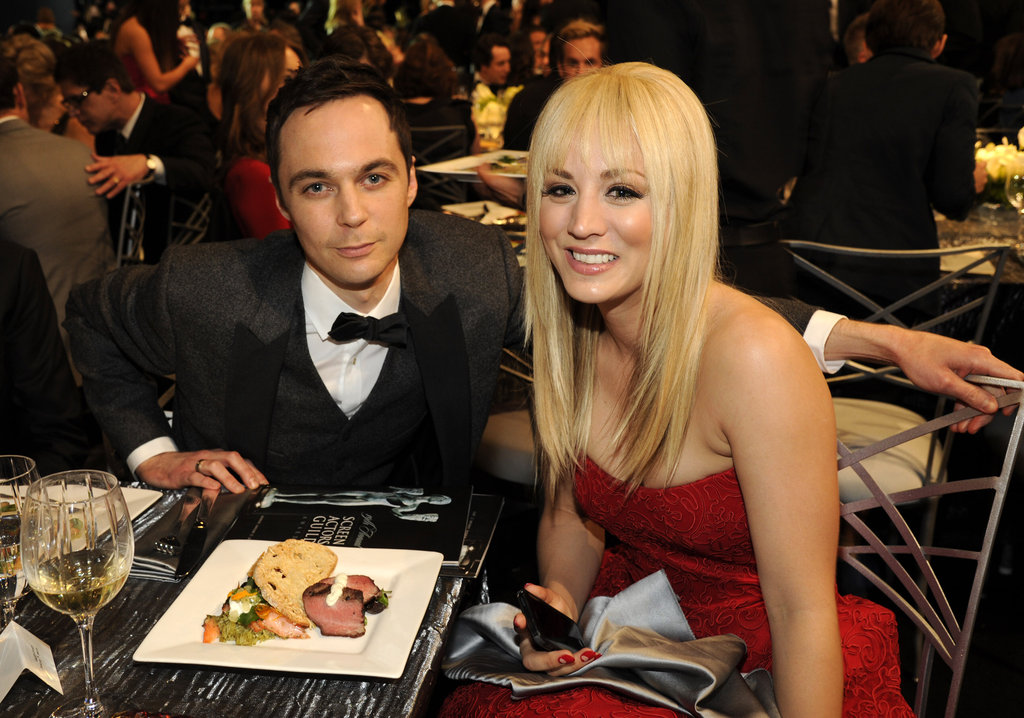 "Photo of Jim Parsons & his friend actress  Kaley Cuoco - Series ""The Big Bang Theory"""