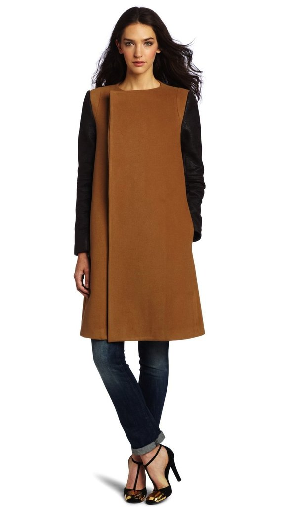 When we think of camel coats, we tend to envision trenches or shawl-collar coats, but we love this BCBGMAXAZRIA leather-sleeve camel coat ($199, originally $398) because it's the perfect on-trend update.