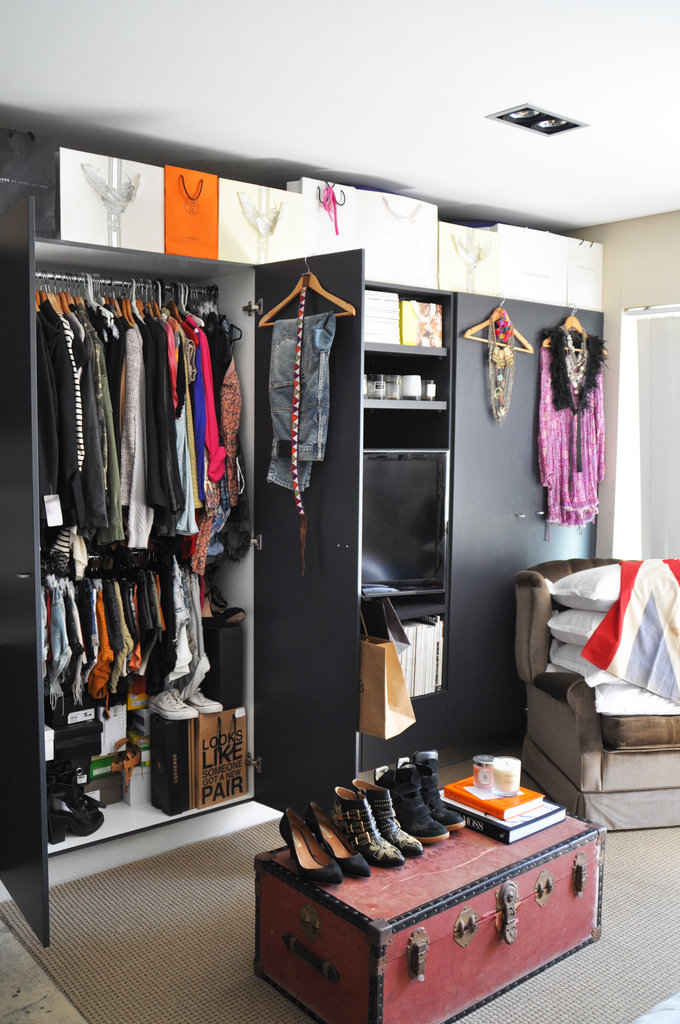 I actually think I suffer from OCD — I need everything to be perfect or it just doesn't feel right. I like to rotate the 'front hangs' on the front of my wardrobe to showcase different items, like new purchases I have made. I feel like they are too special to hide away in the wardrobe . . . they need to shine! I am also blessed with the built-in wardrobes. I actually don't know what I would do without them.