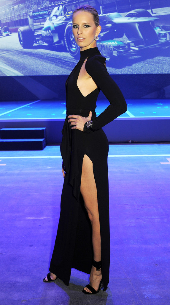Karolina Kurkova showed off her legs in a black dress with a high slit.