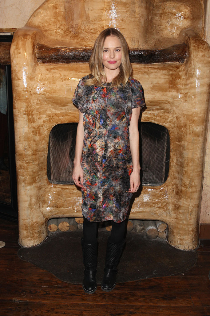 Kate Bosworth slipped into a multi-coloured print Mulberry sheath and motorcycle boots while out and about in Park City.
