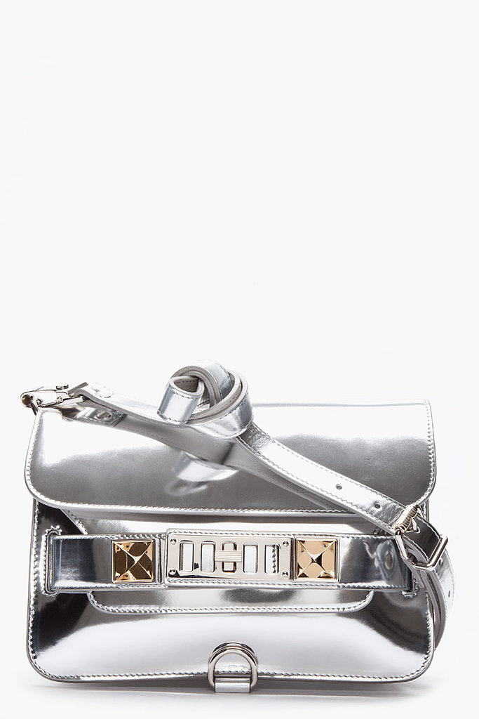 We love the shiny patent silver finish on Proenza Schouler's PS11 mini ($1,825).