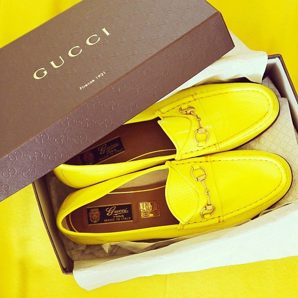 Gary Pepper Vintage's Nicole Warne was gifted these amazing acid yellow Gucci loafers — keep an eye out for them during Fashion Week next month! Source: Instagram user garypeppergirl