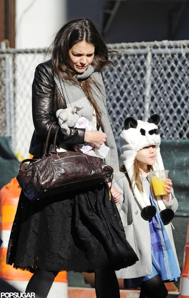 Katie Holmes Takes On Chilly NYC With Suri —and Suri's Panda Hat
