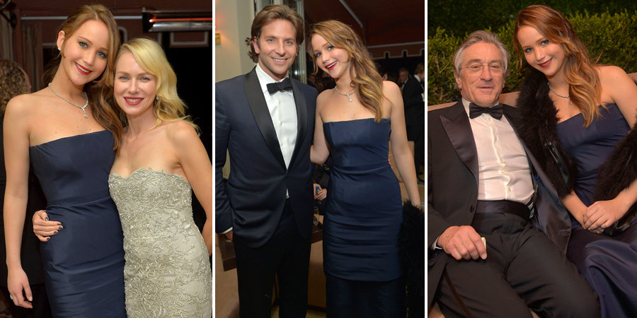 Jennifer Lawrence Makes the Rounds at the Weinstein Co. SAGs Bash