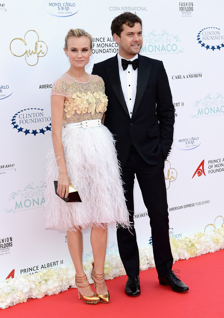 At the Nights in Monaco gala fundraiser in Monte Carlo, Diane Kruger finished her textured Prabal Gurung beauty with equally statement Nicholas Kirkwood for Prabal Gurung gold triple-strap pumps.