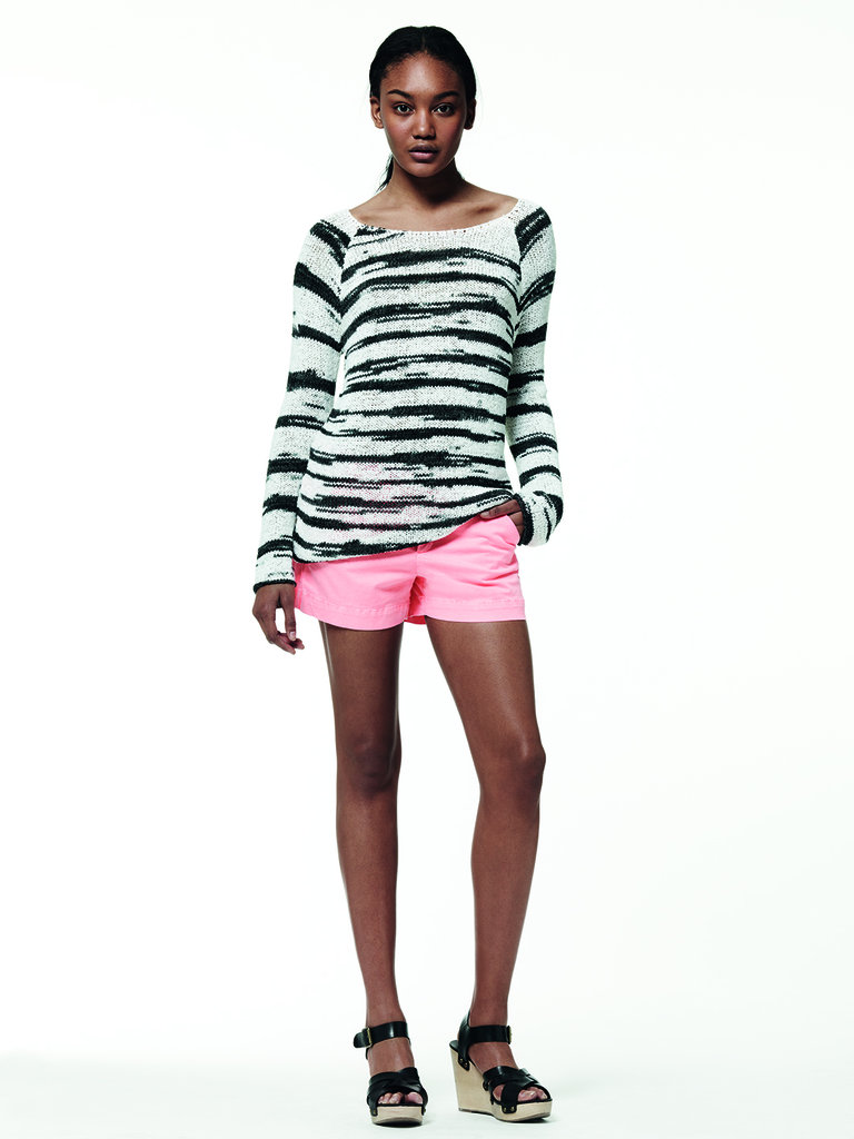 For the braver styler, this bright pink and striped pairing is a fun way to mix it up.